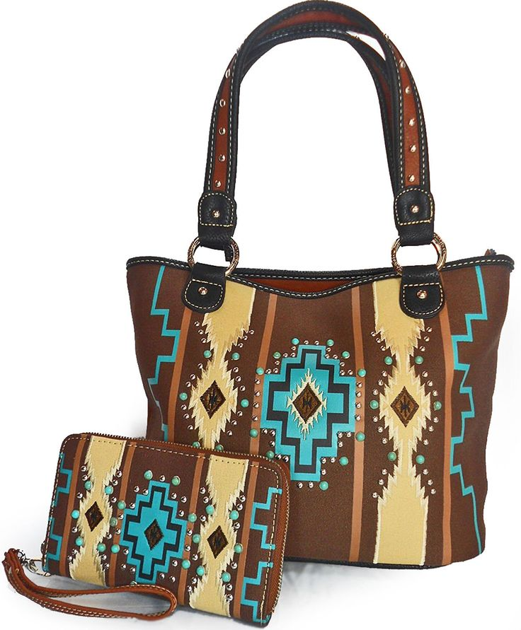 Montana West® Large Aztec Tote Bag w/ Turquoise Studs + Wallet- Coffee Multi