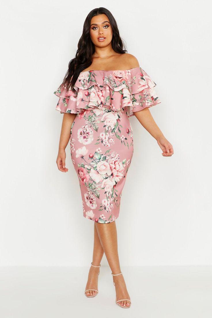 Plus Off Shoulder Floral Ruffle Midi Dress Boohoo Plus Size Wedding Guest Dresses Ruffle Midi Dress Pink Midi Dress [ 1104 x 736 Pixel ]