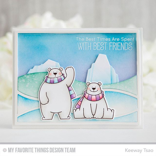 Horizontal snow drifts cover-up plate. I die cut the snow drifts in white card stock and then blended ink on multiple layers. I also snipped off half of the snow drifts where I ink blended the sky and planned to place my icebergs. My icebergs were also die cut in white card stock and ink blended while using a post-it tape to mask the indentures created with the iceberg dies.