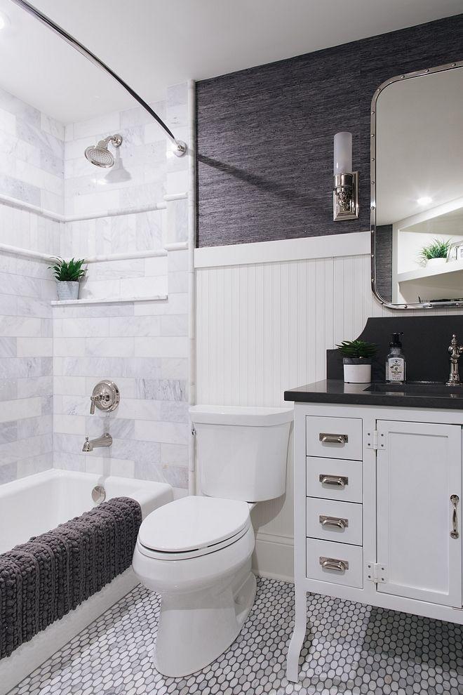 Small Bathroom With Beadboard Wainscoting Marble Mosaic Floor Tile