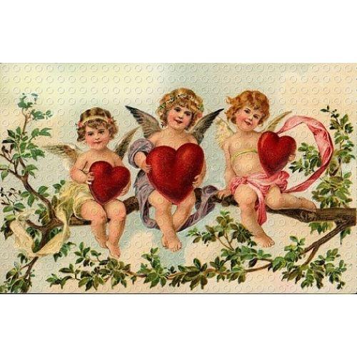 Valentine Victorian Cherub Red Heart