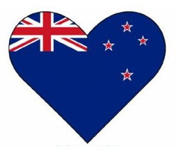 New Zealand flag - heart shaped