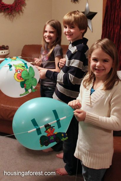 Racing Balloon Leprechauns ~ Balloon Rockets