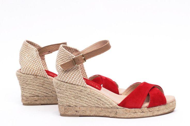 miMaO Sparto M Rojo - Sandalias mujer tacón cuña cómodo rojo piel ante - Comfort women's sandals heel wedge espadrilles red suede leather