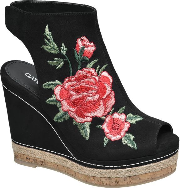 #Catwalk #Keil #Sandalette #schwarz für #Damen So sind Sie modisch auf der Höhe Die schwarze Keil Sandalette von Catwalk wartet mit einem beeindruckenden 12 3 cm Absatz und einer in Bast und Korkoptik gestalteten Plateausohle auf und sorgt so für eine optische Verlängerung der Beine Der untere Fersenbereich ist offen gestaltet vorne öffnet sich der Schuh im Peeptoe Design Blickfang das zauberhafte Blumen Motiv in Rot und Grün