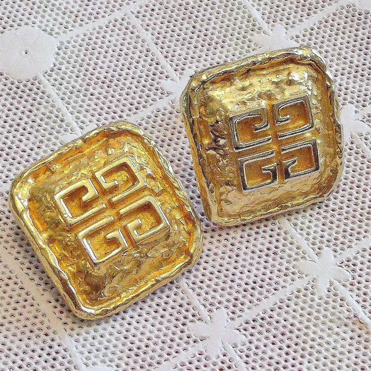 "Givenchy Gold Plated LOGO Earrings ~ Textured gold tone Button ""Parfum Givenchy France"" Clip On Earring Set ~ Rare High End Designer by EclecticJewells on Etsy"