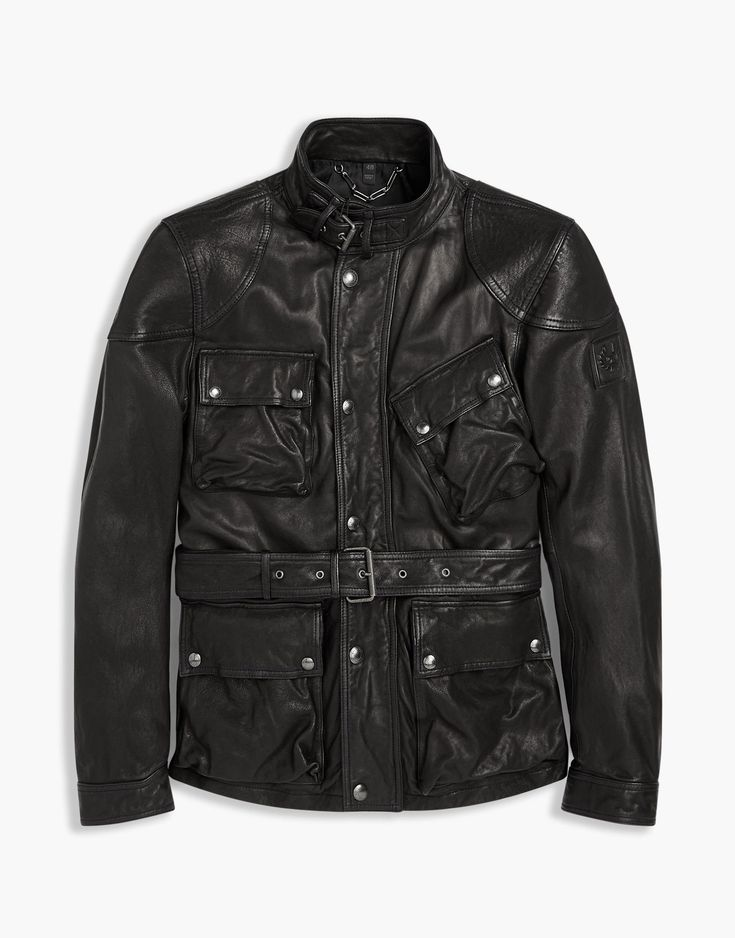 Belstaff SPEEDMASTER Jacket In Black Burnished Leather