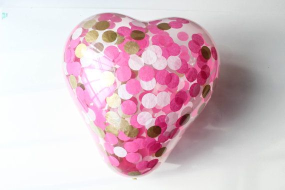 15 JUMBO Herz Konfetti Ballon / Herzballon /