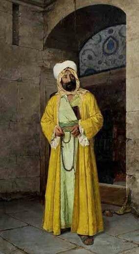 Osman Hamdi: Doğulu Giysi İçinde kendi portres. Tuval uzerine yagliboya. 220×120cm. İstanbul resim ve heykel muzesi