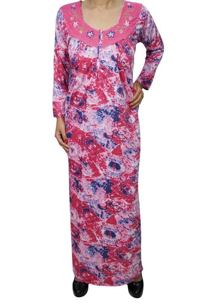 Indiatrendzs Women s Hosiery Printed Pink Full Sleeve Long Nightwear Nighty   Indiatrendzs nighty  women  nightwear  sleepwear  nightdress  maxinighty 144316ccf4