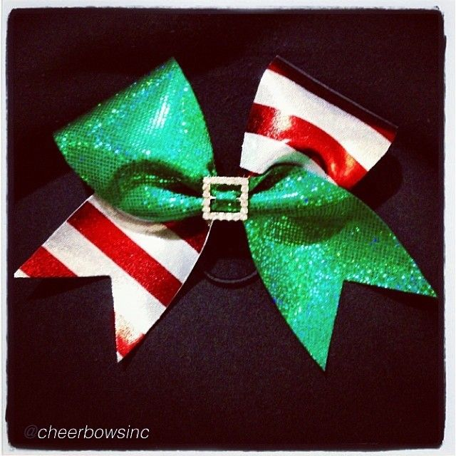 "Cheer bow of the day. by @cheerbowsinc """"Santa's Little Helper""…"