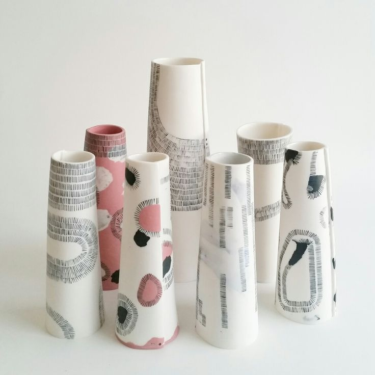 Thread Family. Porcelain vessels by Philippa A Taylor.