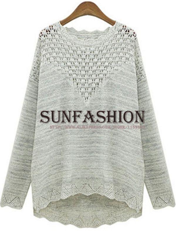 Aliexpress.com: Comprar 2014 nueva corea diseño moda suéteres sueltos mujeres de otoño gris de manga larga de cuello redondo suéter tejido Casual Wear de usar poncho fiable proveedores en SUN FASHIONS