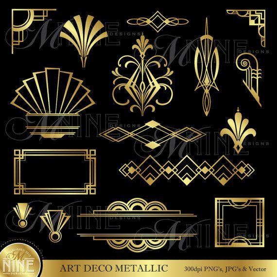 "ART-DECO-ClipArt-Grafik: ""Gold Art Deco Akzenten"" Design Elemente digitalen Clipart, sofort-Download, Vintage-Akzenten Frameränder"