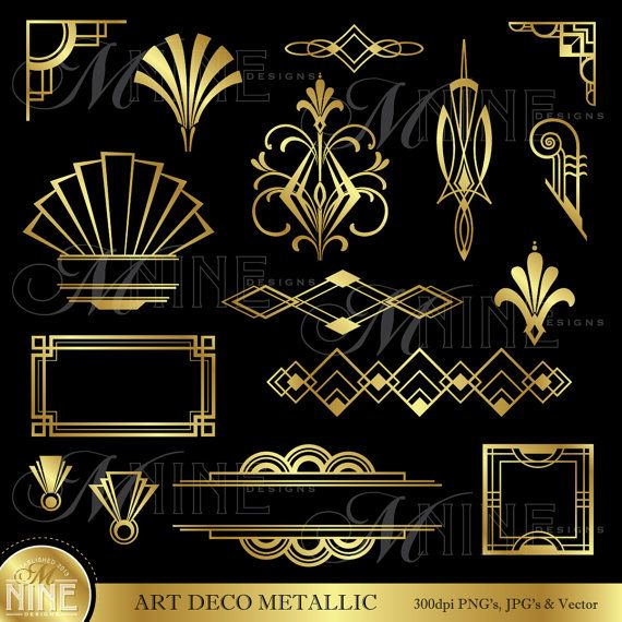 ART DECO Clip Art Gold Art Deco Accents Design Elements Digital
