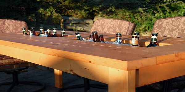 DIY Backyard for Summer with Wood Patio Table
