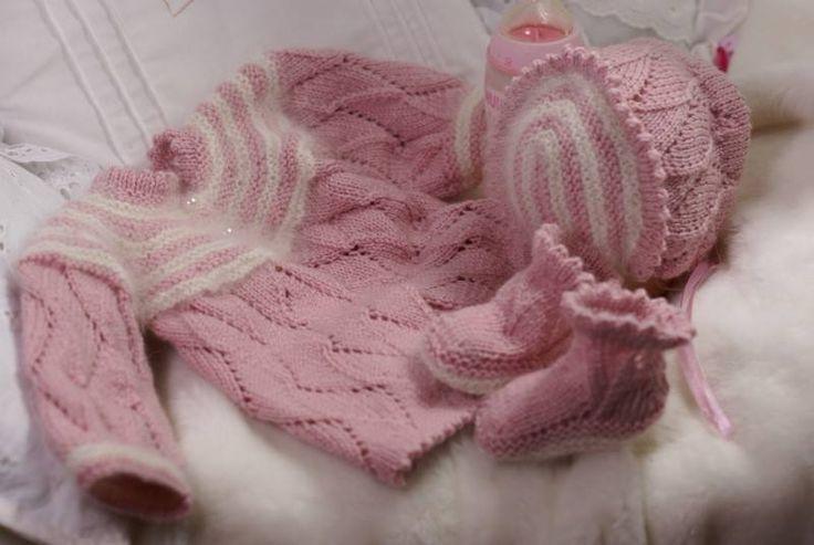 Pembe örgü yenidoğan bebek takımı modelleri
