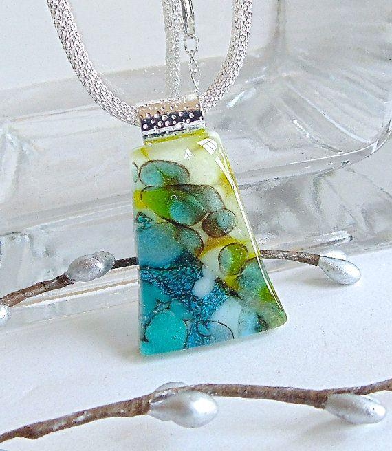 Groene ketting gesmolten glas sieraden glas hanger door myfusedglass