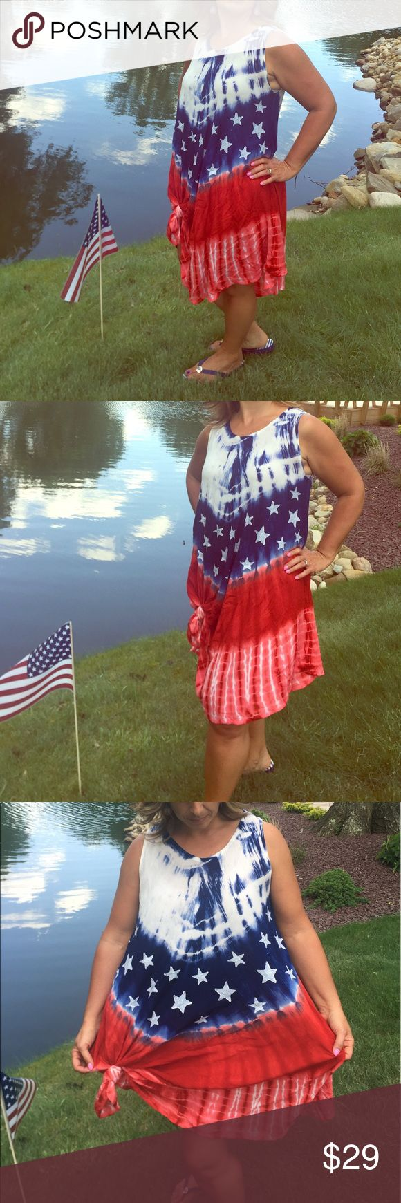 🇺🇸SHIPPING DISCOUNT TIL 10:50am EST 6/15/17 Worn once.  So adorable 🇺🇸 Super comfy! 🇺🇸 Easy breezy summer patriotic dress!🇺🇸 Dresses