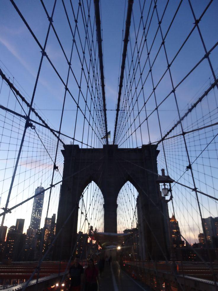 Brooklyn Bridge, sunset, New York, USA