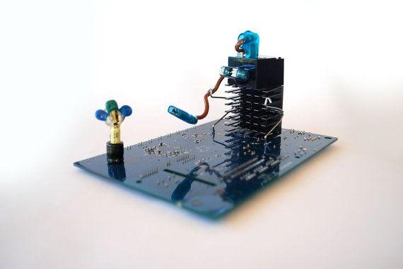 Εclectic Blurchin & Joly The Flower by Phygitales on Etsy #robots, #phygitales, #Phyci_Digi_Land, #animation, #comics, #art, #sculpture, #recycled_PCB, #recycled_electronics, #figurine, #recycled_computer, #Recycled_Circuit_Board, #computer_parts, #recycled_electronics, #recycled