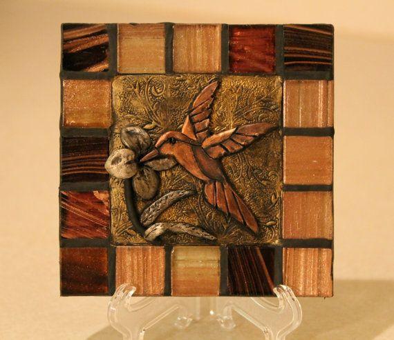 Home Decor Tile: Hummingbird/ Ceramic Tile/ Handmade Decorative Tile/Home