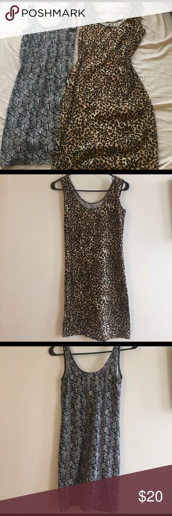 """Body-Con Dress Set Navy and White Tribal Print: H&M, Size 8. Cute v-shaped cut in back. Perfect condition. Animal Print: Size S. """"Heart and Hips"""" brand, from boutique in Chicago. Never been worn. Both of these dresses are stretchy and comfy and look really sexy on. Can be worn as going out dresses, or look adorable as bandage skirts with a t-shirt tossed over top! I'm more than willing to sell them separately if you like one and not the other. Feel free to make me an offer! H&M Dresses Mini"""