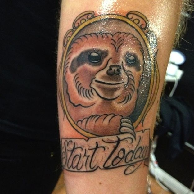 Sloth tattoos can be really inspirational. | 23 Of The Best Sloth Tattoos Of All Time