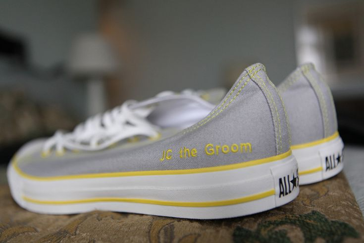 Yellow and Gray wedding Shoes | Jason looked handsome in a gray suit