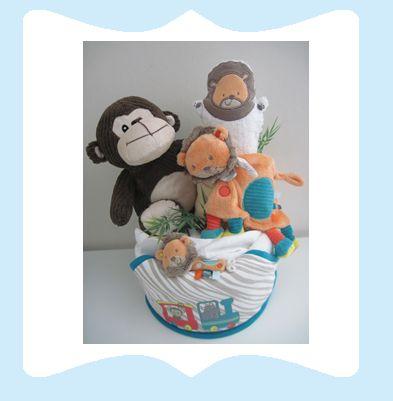 La baby shower de maman Gateau de couches ou Diaper Cake ayant pour nom : Le singe et le lion