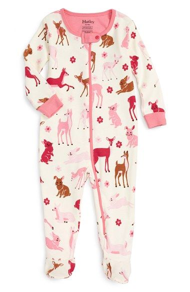 Free shipping and returns on Hatley Deer & Bunny Print Fitted One-Piece Footie Pajamas (Baby Girls) at Nordstrom.com. Your little one will be ready for adventures in Dreamland in these snug-fitting footie pajamas featuring a darling print of friendly bunnies and adorable deer. Nonslip rubber soles make sure each step is steady.