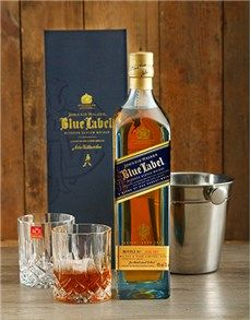 Fine Wine and Spirits - Spirits: Johnnie Walker Blue Label with Ice Bucket and Crys!