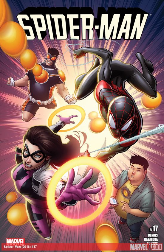 SPIDER-MAN (2016) #17  Published: June 07, 2017  Rating: Rated T  Writer: Brian Michael Bendis   Cover Artist: Patrick Brown   Spider-Man and his amazing friends!