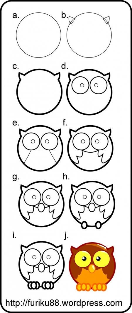 Learn dow to draw an owl. cute Cartoon owl