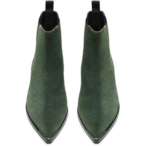 ACNE Jensen Suede Emerald Green ($560) ❤ liked on Polyvore featuring shoes, boots, ankle booties, heels, rubber sole boots, pointed toe booties, pointed toe boots, suede boots and pointy toe booties