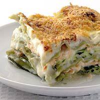 Zalmcourgettelasagne - mozzeralla ipv geraspte kaas bovenop. Dit recept is voor max 3 personen