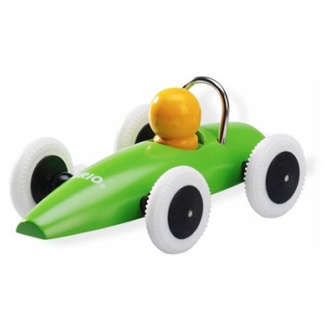 Brio Race Car: Made of wood. A red one was a favorite of @Ben Silbermann! Elliot, age 3 and Nora, age 1 are fans too.  Available in red, black, green, orange. 12€ #Toy_Car #Brio