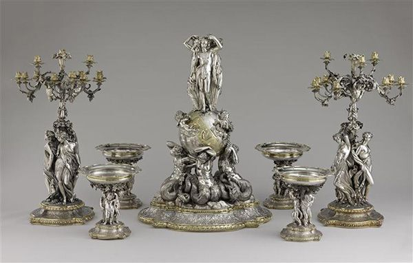 Louis-Philippe style : François-Désiré Froment-Meurice (1801-1855), Centrepiece of the duc de Luynes, after Jean-Jacques Feuchère (1807-1852), 1846-1851, Silver repoussé and partially gilt, Musée du Louvre, Paris
