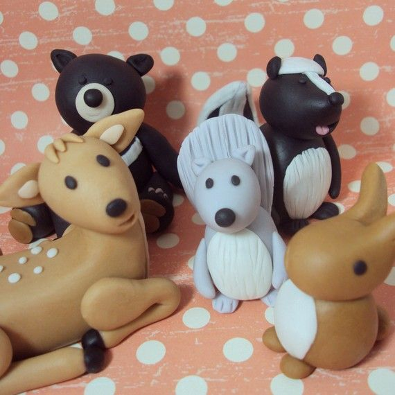 Woodland Animals Set of 5 Cake Toppers by SweetTouchDecor on Etsy, $23.00