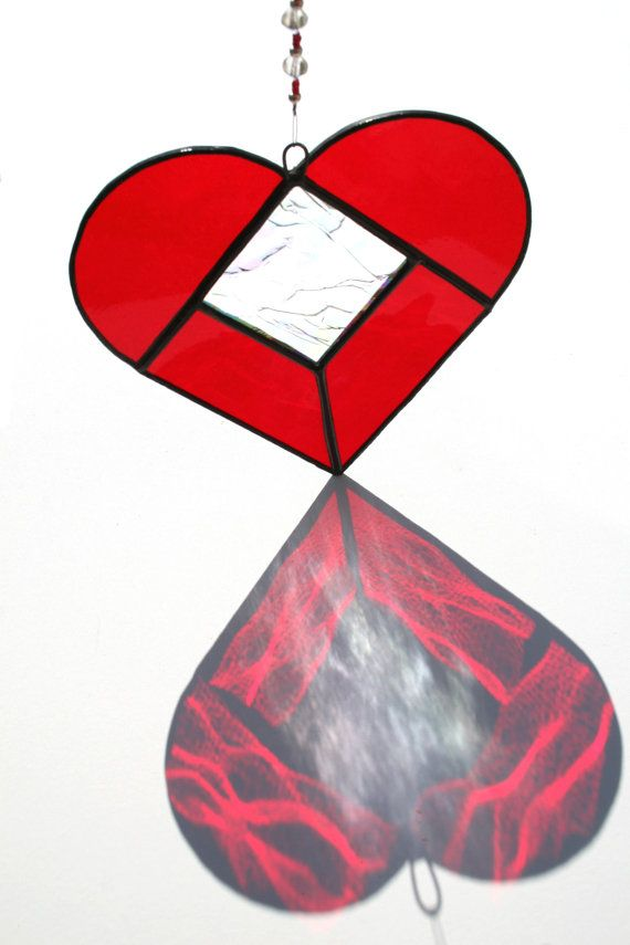 Stained Glass Suncatcher Ruby Red Love Heart by StainedGlassFayre, €14.00