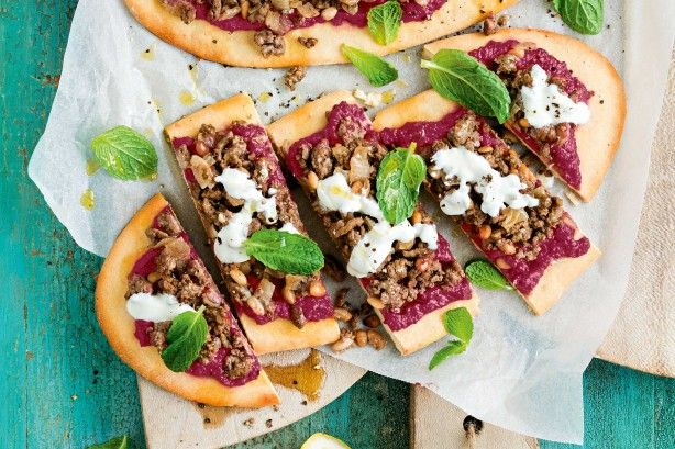 Tasty lamb mince and sweet beetroot sits atop freshly baked flatbread. Yum!