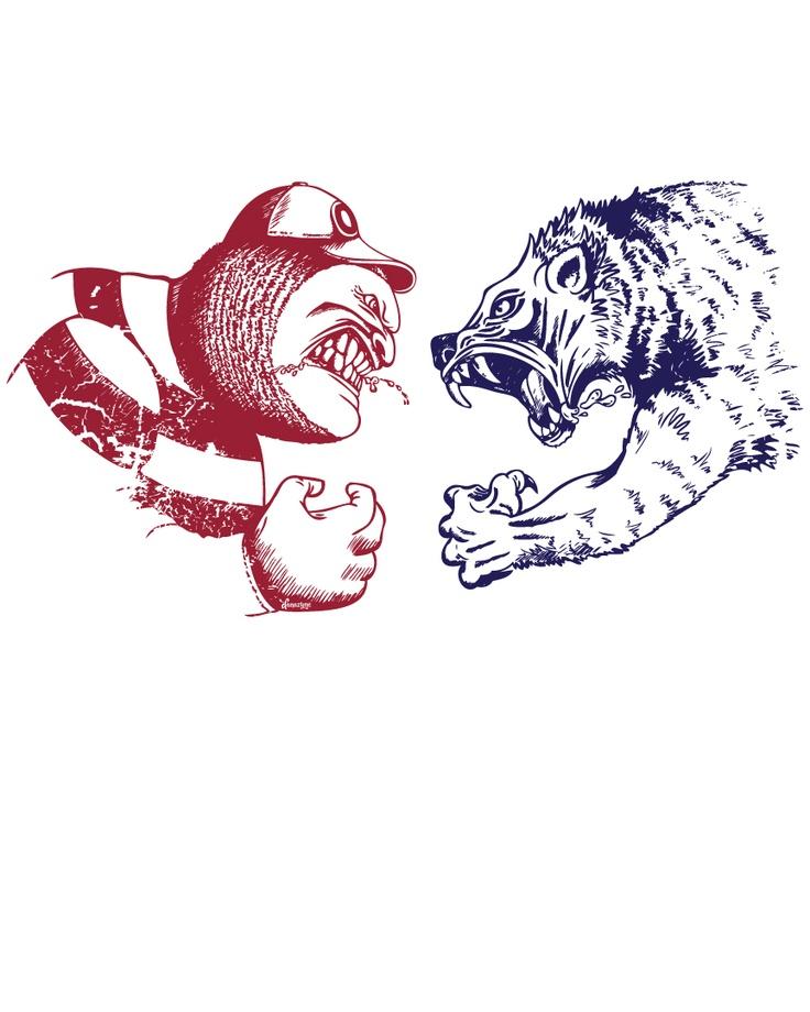 Ohio State Brutus the Buckeye VS University of Michigan Wolverine (final vector)