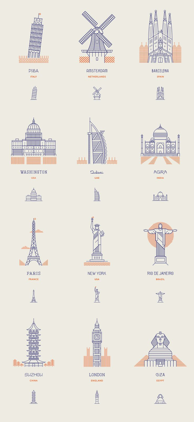 World Landmark as Line Icons » Design You Trust. Design, Culture & Society.