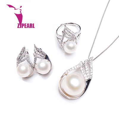 ZJPEARL 100% genuine freshwater pearl jewelry set, pearl necklace and earrings for women white top quality