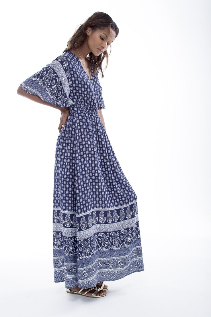 "A perfect hormage to the 70""s: the boho printed maxi dress. #miladys #dress #maxidress #moroccanprint"