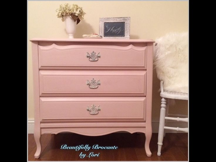 Pretty In Pink French Dresser Chalk Paint Rustoleum Blush Pink Pink Furniture Shared Girls