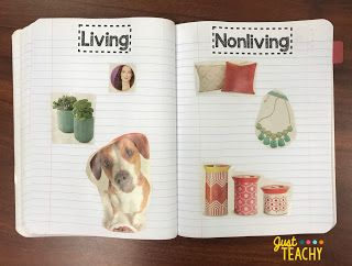 Living & Nonliving Science Journal Labels, www.JustTeachy.com