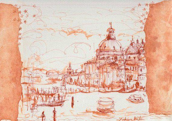 Original Venise Salute Canaletto Dessin Lavis Original Sur