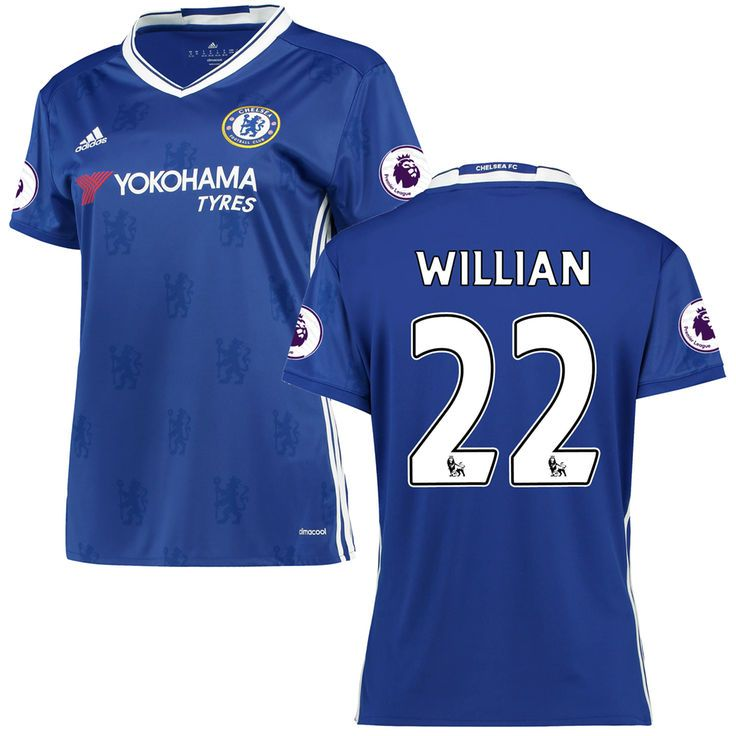 Women's adidas Willian Borges da Silva Blue Chelsea 2016/17 Replica EPL Badge Home Jersey - $114.99
