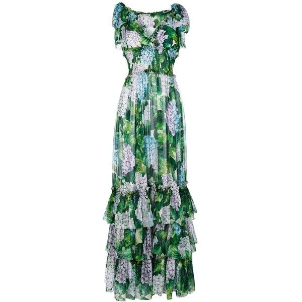 Dolce and Gabbana Hydrangea Sleeveless Gown ($5,395) ❤ liked on Polyvore featuring dresses, gowns, kirna zabete, kzloves /, le catch's summer essentials, long evening dresses, green gown, summer dresses, green silk dress and sleeveless summer dresses